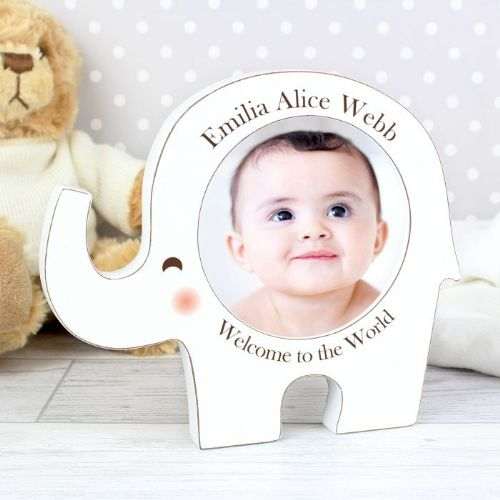 Personalised Neutral Elephant Photo Frame